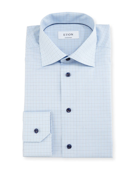 Eton Contemporary-Fit Soft-Check Dress Shirt, White/Navy/Blue