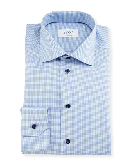 Eton Contemporary-Fit Houndstooth Dress Shirt, Blue