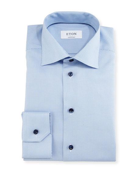 Contemporary-Fit Houndstooth Dress Shirt, Blue