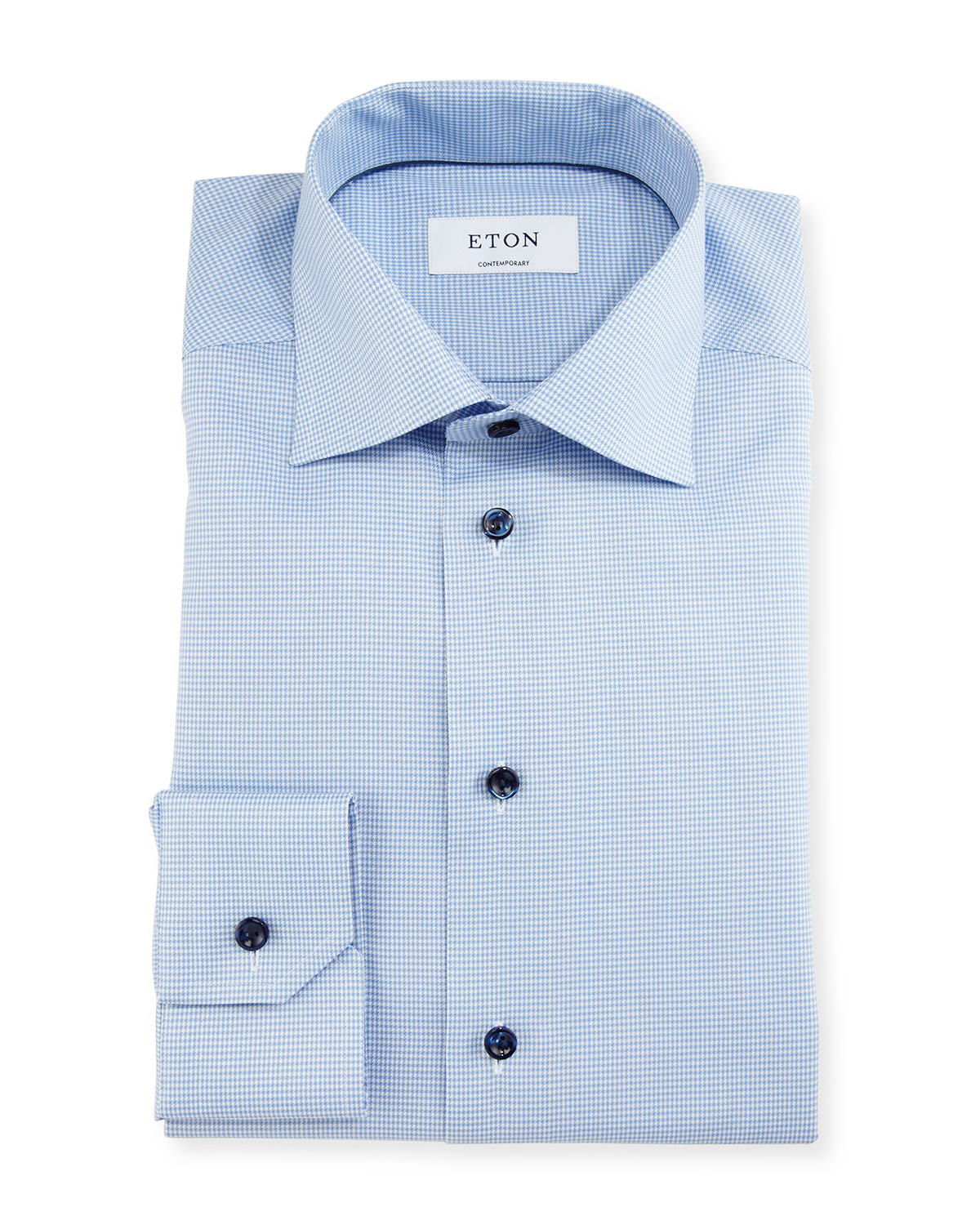 Low Shipping Fee Cheap Online Collections Contemporary fit Light Blue Hounds Tooth Shirt Eton Free Shipping Cheap Quality Discount Prices Amazing Price For Sale N2MAbGOp6