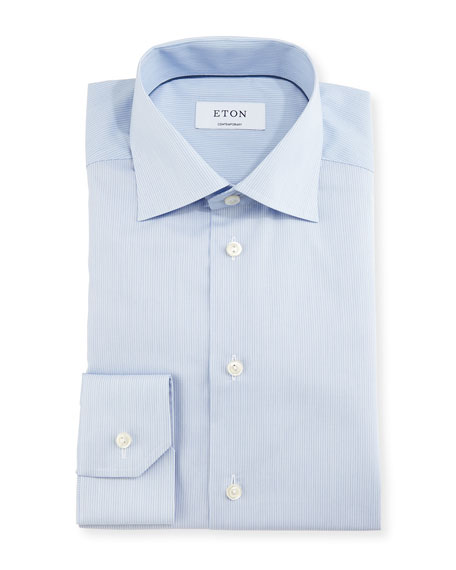 Eton Contemporary-Fit Fine-Stripe Dress Shirt, Blue