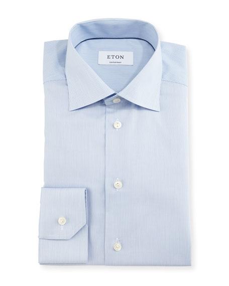 Contemporary-Fit Fine-Stripe Dress Shirt, Blue