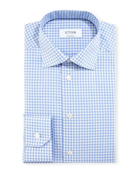 Eton Contemporary-Fit Gingham Dress Shirt, Blue/White