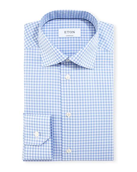 Eton Contemporary-Fit Gingham Dress Shirt, Blue/White