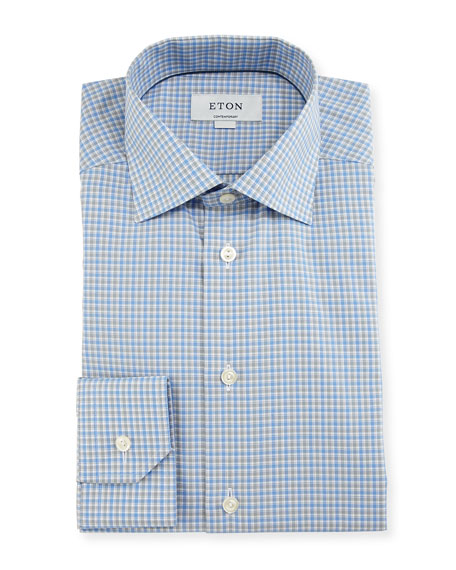 Contemporary-Fit Check Dress Shirt, Blue/Gray