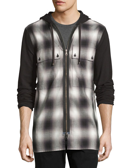 Helmut Lang Gradient Plaid Zip-Front Hoodie, Black