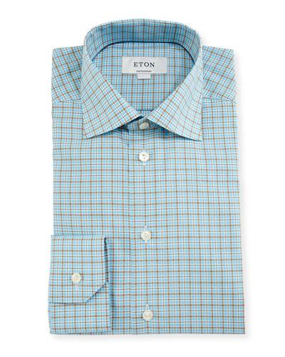 Contemporary-Fit Check Dress Shirt, Aqua/Brown
