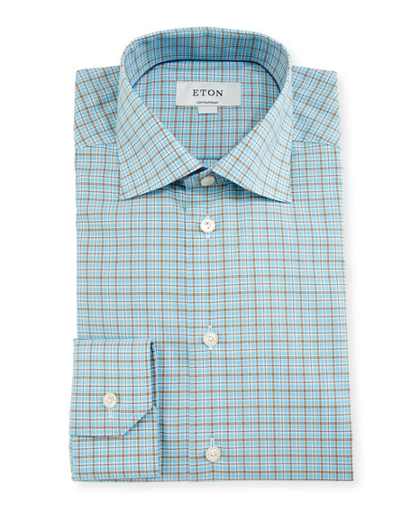 Eton Contemporary-Fit Check Dress Shirt, Aqua/Brown
