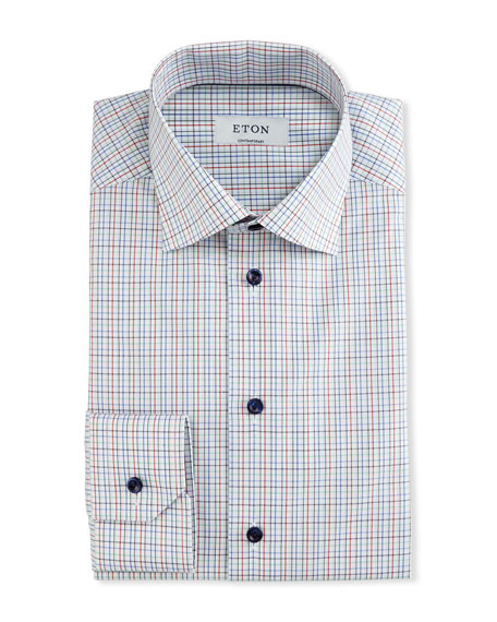Eton Contemporary-Fit Check Dress Shirt, White/Red/Navy