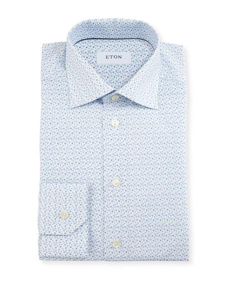 Eton Slim-Fit Poppy-Print Dress Shirt, White/Blue