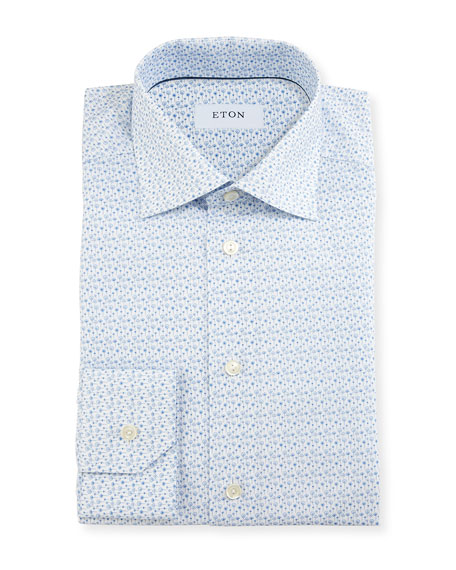Slim-Fit Poppy-Print Dress Shirt, White/Blue
