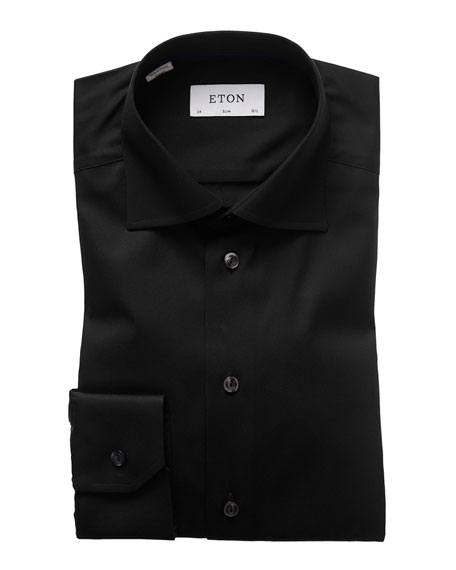 Slim-Fit Solid Dress Shirt, Black
