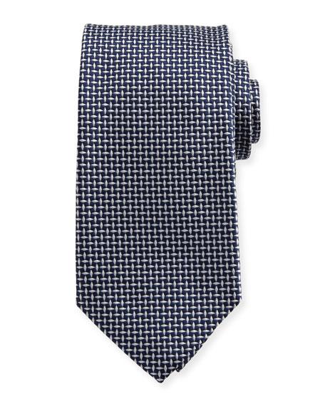 Woven Micro-Neat Silk Tie, Navy