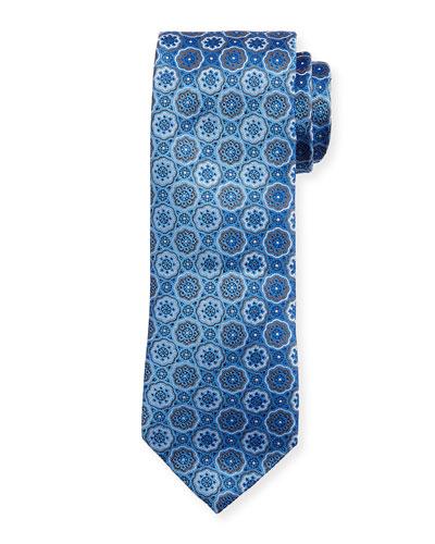 Flower Medallion Neat Tie, Blue