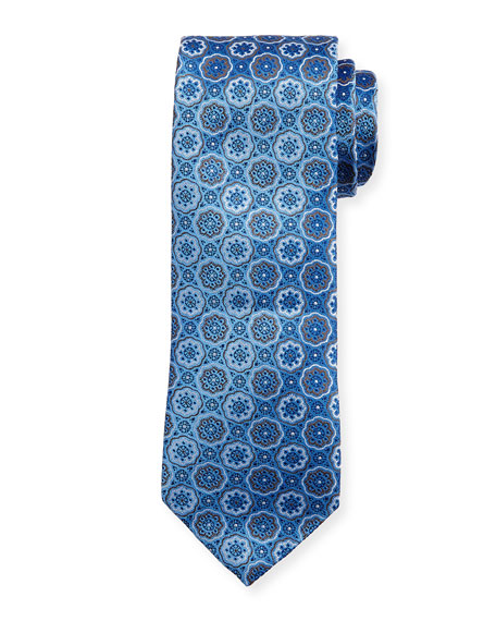 Flower Medallion Neat Tie, Blue