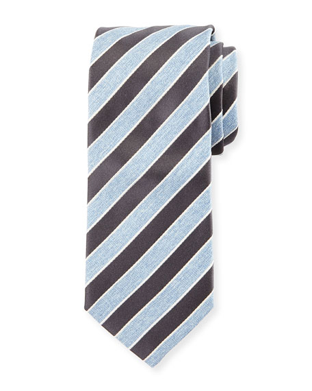 Repp Stripe Silk Tie, Charcoal/Light Blue