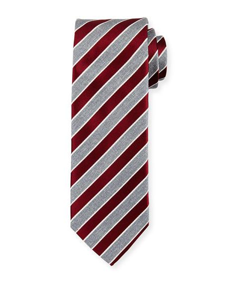 Repp Stripe Silk Tie, Dark Red