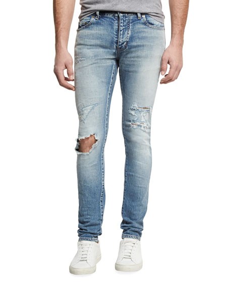 Saint Laurent Dirty Distressed Skinny Jeans with Blowout Knee, Blue