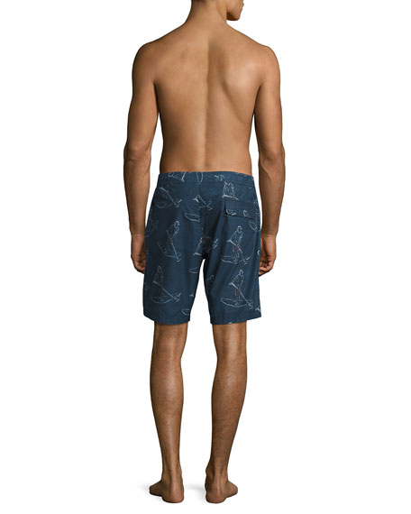 Lawrence Paddlin' Print Relaxed-Fit Swim Trunks, Navy