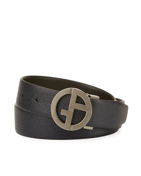 Giorgio Armani Logo-Buckle Vitello Belt, Navy