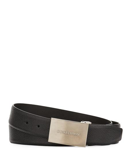 Caviar Leather Belt, Black