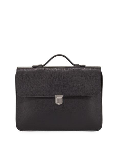 Giorgio Armani Leather Flap-Top Briefcase, Black