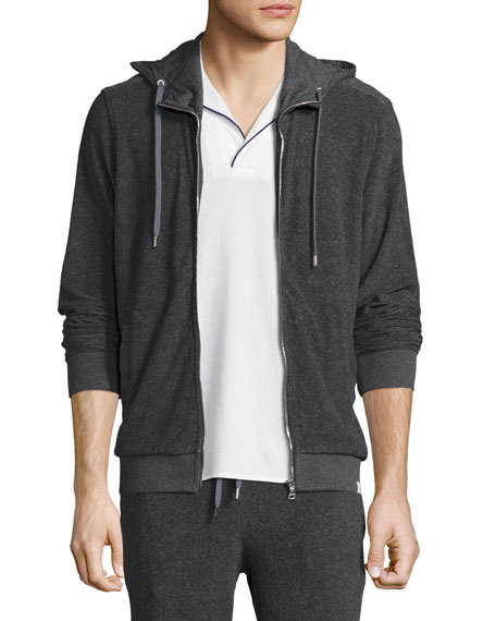 Caden Mélange Classic-Fit Toweling Hoodie, Fossil