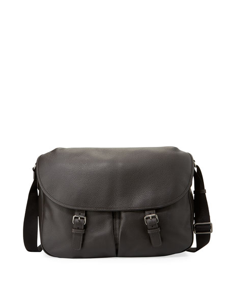 Giorgio Armani Men's Vitello Leather Messenger Bag