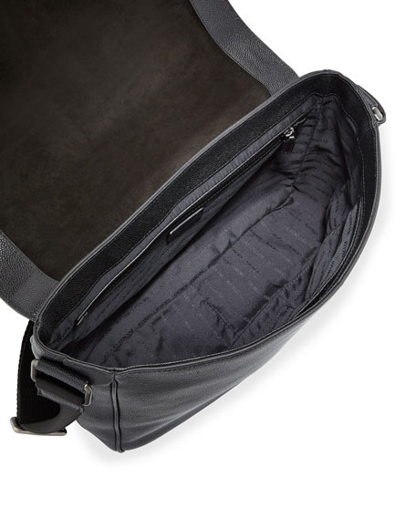 Caviar Leather Messenger Bag, Black