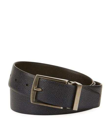 Giorgio Armani Grained Calf Leather Belt, Navy
