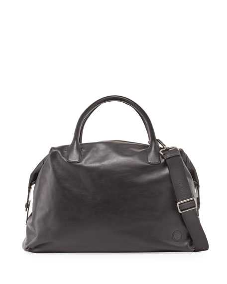 Giorgio Armani Calfskin Leather Weekender Bag, Black