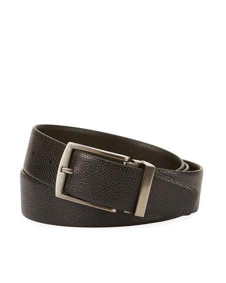 Giorgio Armani Grained Calf Leather Belt, Black