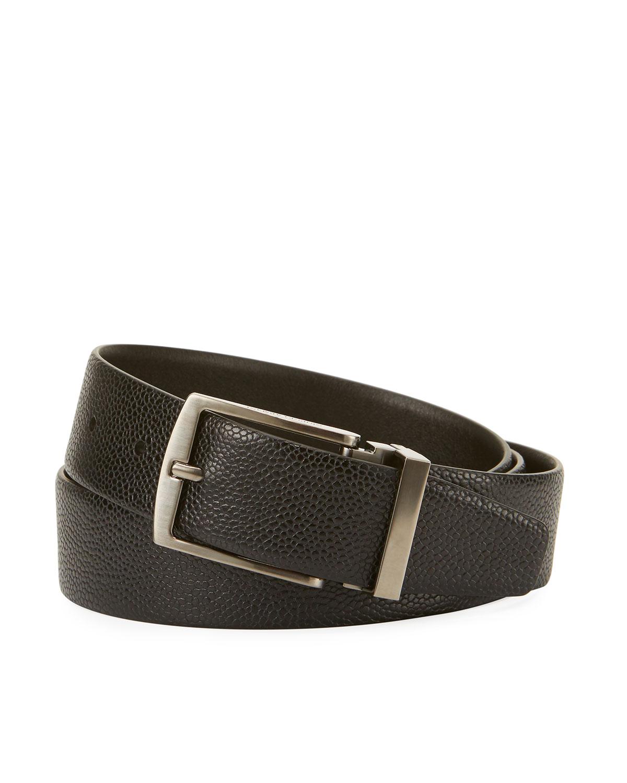 Grained Calf Leather Belt, Black by Giorgio Armani