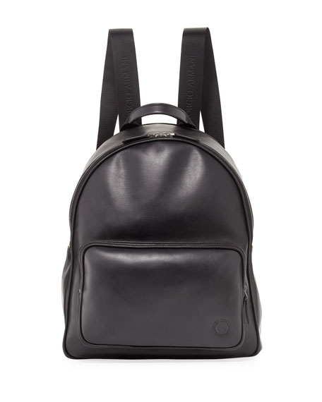 Giorgio Armani Calfskin Leather Backpack, Black