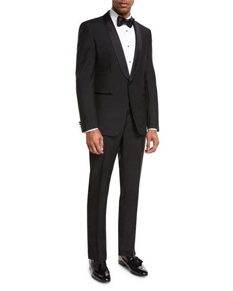 BOSS Satin-Collar Two-Piece Tuxedo, Black