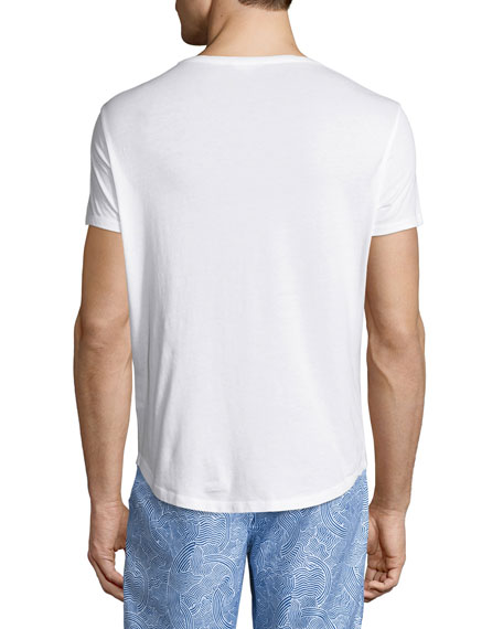 OB-T Athabasca Tailored-Fit Crewneck T-Shirt, White/Navy