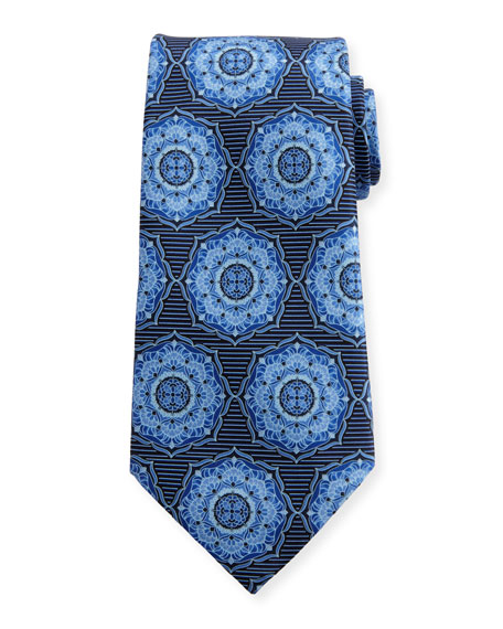Ermenegildo Zegna Ornate Medallion Silk Tie, Blue