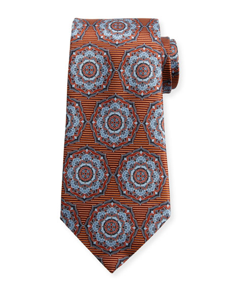 Ermenegildo Zegna Ornate Medallion Silk Tie, Orange