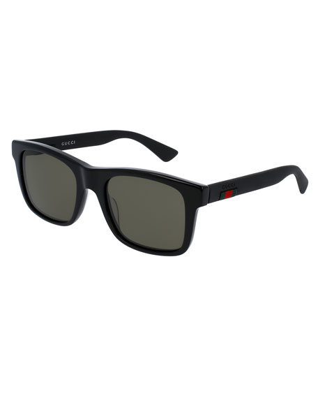 Gucci Acetate Rectangular Sunglasses w/Web Detail, Black