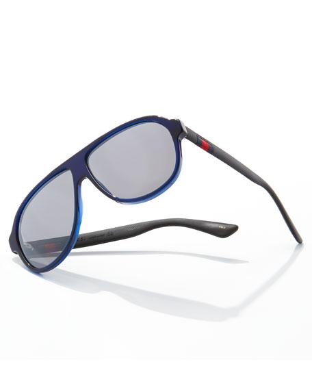 Acetate Aviator Sunglasses w/Web, Blue