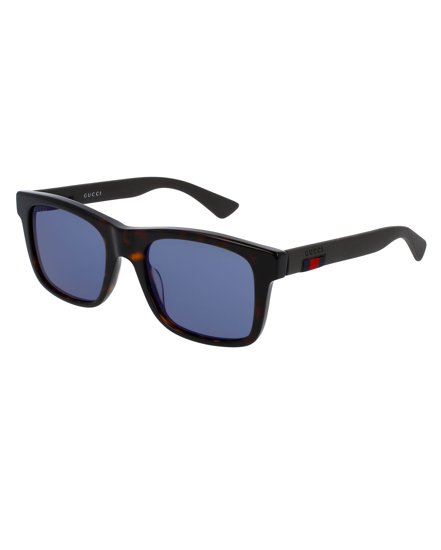 3161bcf9b53 Gucci Tortoiseshell Acetate Rectangular Sunglasses w Web Detail ...