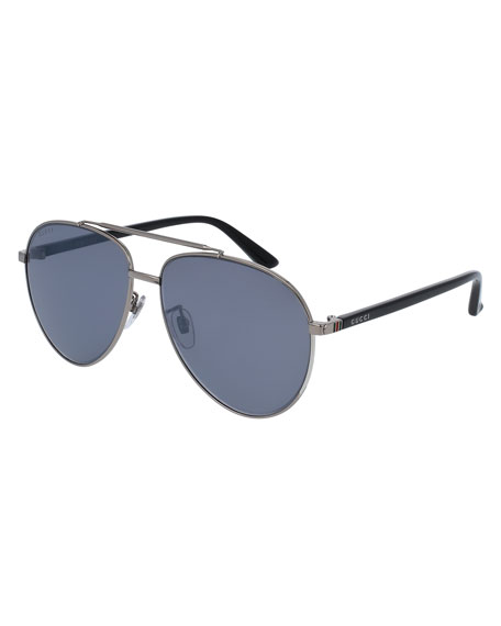 Gucci Metal Aviator Sunglasses, Silvertone/Black