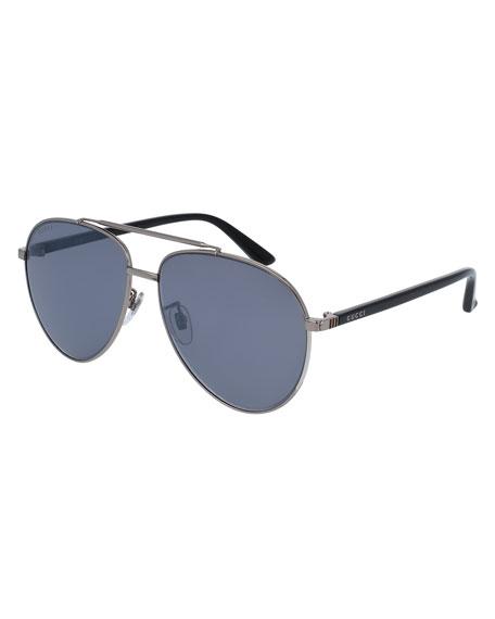 Metal Aviator Sunglasses, Silvertone/Black