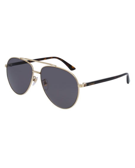 Gucci Metal Aviator Sunglasses, Golden/Gray
