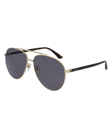 Metal Aviator Sunglasses, Golden/Gray