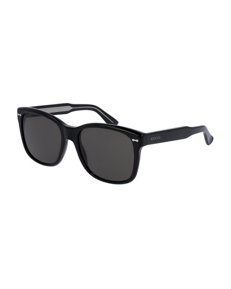 Gucci Men's Runway Acetate Square Sunglasses, Black
