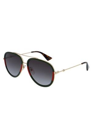 Gucci Web Aviator Sunglasses, Green/Red/Green