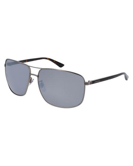 Gucci Rectangular Metal Aviator Sunglasses, Gray