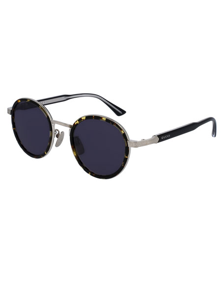Gucci Round Engraved Titanium & Acetate Sunglasses,