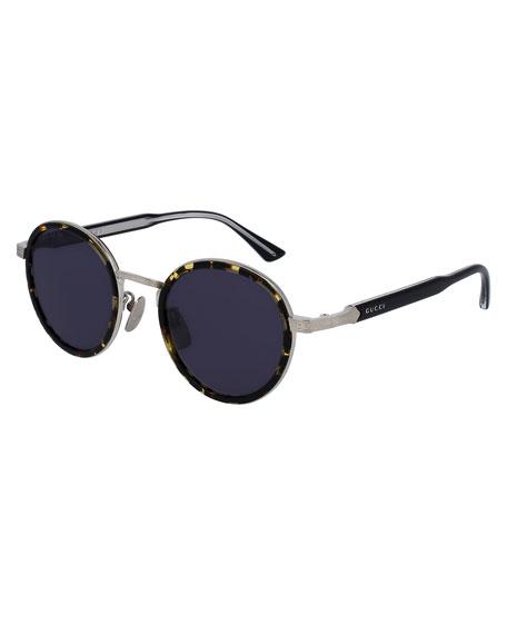 Gucci Round Engraved Titanium & Acetate Sunglasses,